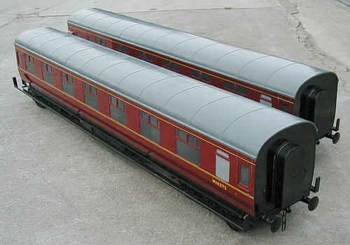 Pair Aristocraft 7 1/4 inch gauge ride-on coaches