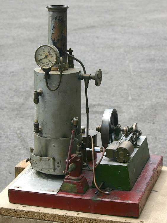 Small stationary steam plant with brass boiler