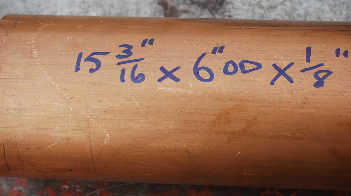 Copper tube 15 x 6 x 1/8