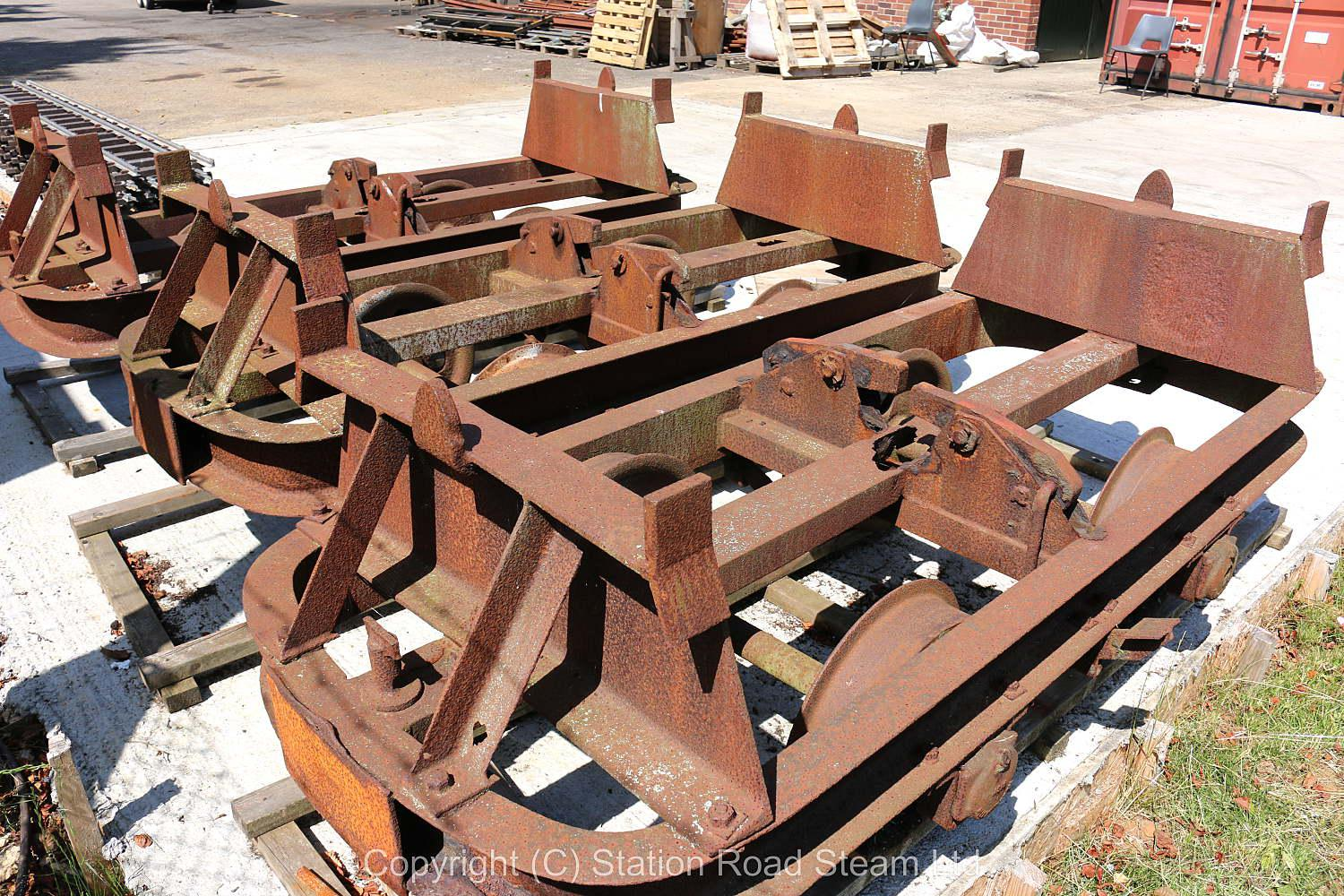 Three two foot gauge skip wagon chassis