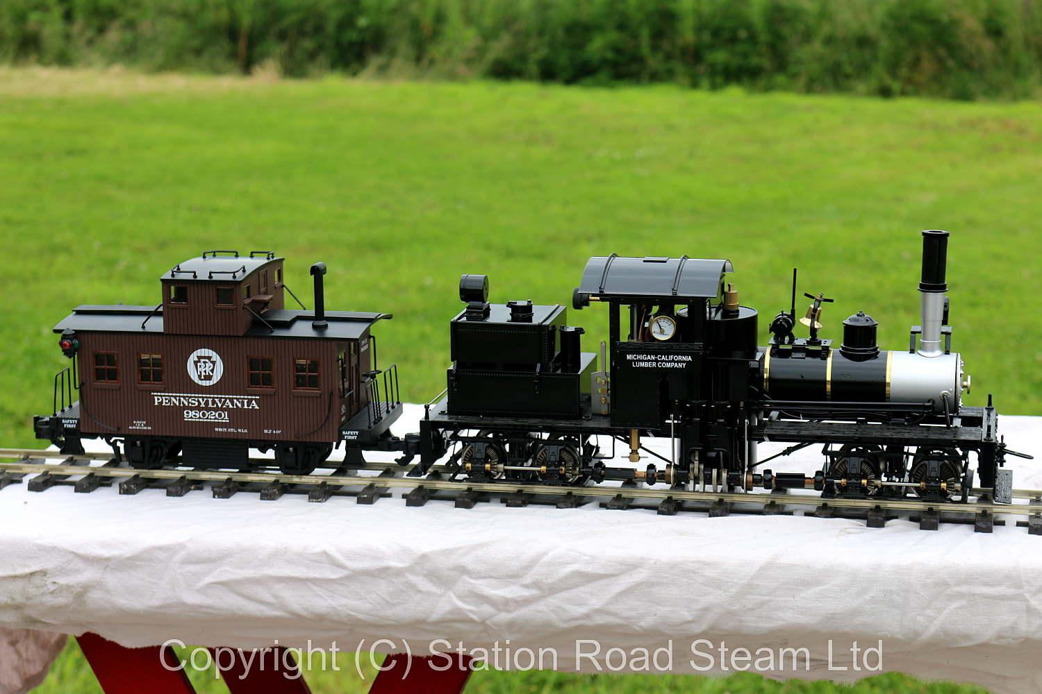 Gauge 1 Accucraft two cylinder Shay with three trucks