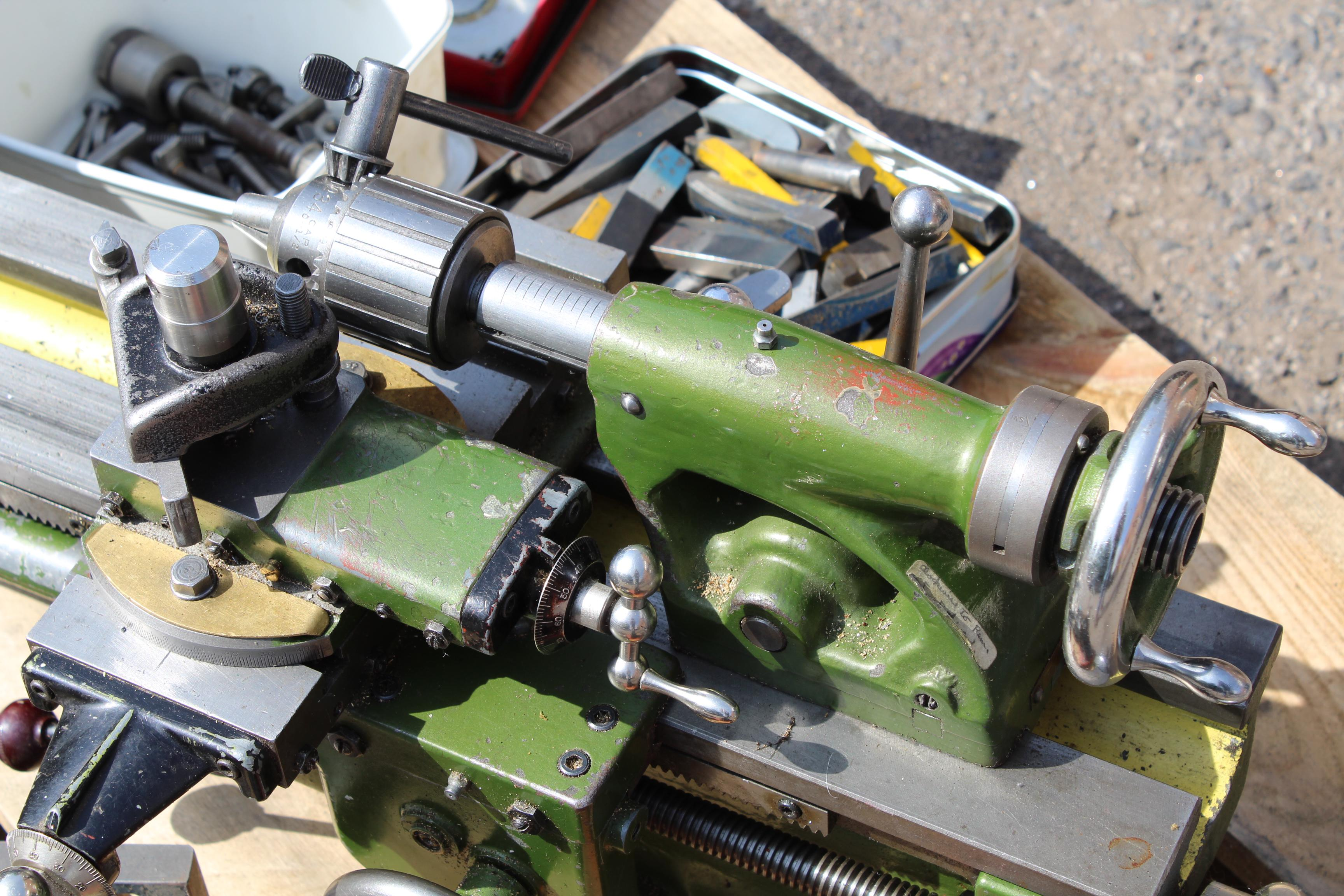 Myford ML7 lathe with tooling